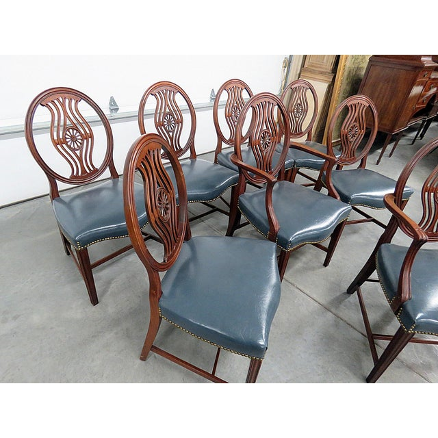 Animal Skin Set of 8 Georgian Style Dining Room Chairs For Sale - Image 7 of 12