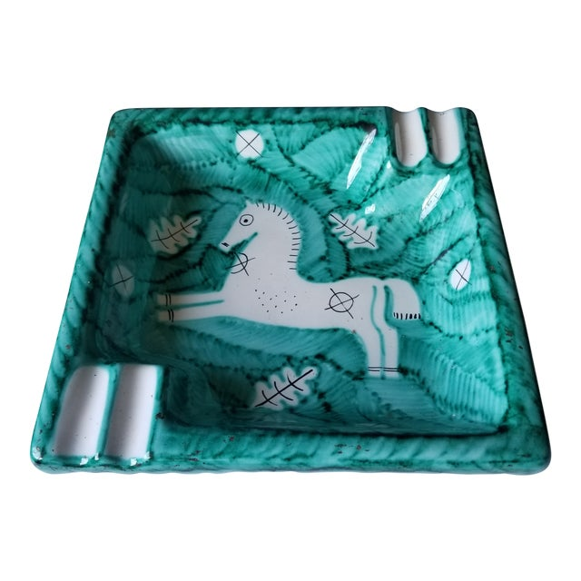 Cantagalli 1950s Turquoise Midcentury Horse Ashtray For Sale