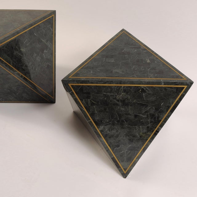 1980s Octahedron Tessellated Marble Side Tables For Sale - Image 4 of 10