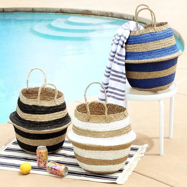 "Boho Chic Brunna ""Stripes Tribes"" Straw Basket Bag, in Blue For Sale - Image 3 of 4"