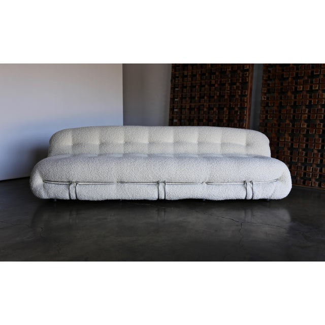 Afra & Tobia Scarpa Soriana sofa for Cassina, circa 1975. This piece has been expertly upholstered in alpaca bouclé.