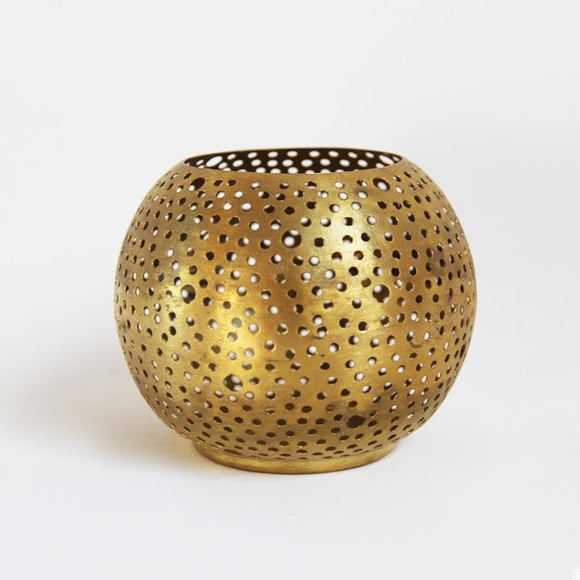 Small Brass Ball Candle Holder - Image 2 of 3