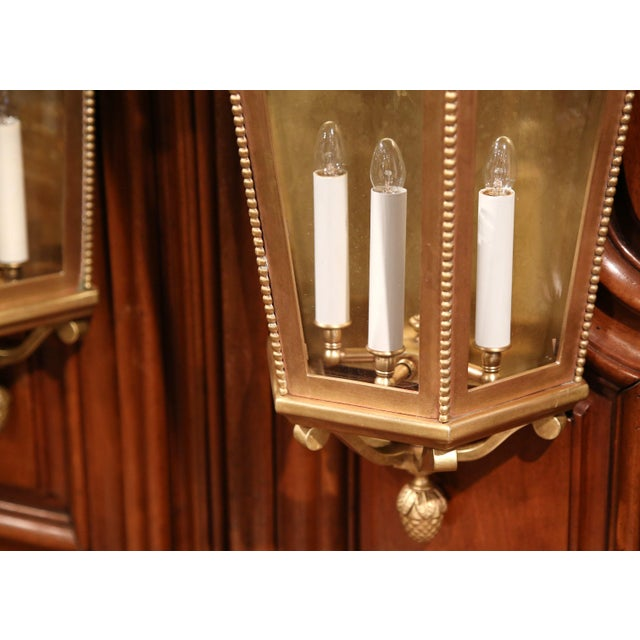 Early 20th Century French Bronze Wall Outside Sconces with Glass - A Pair For Sale - Image 9 of 10