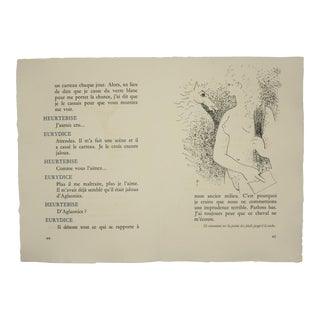 """Pages 44/45"", Original Lithograph From the Illustrated Play, ""Orphee"", by Jean Cocteau, Circa 1944 For Sale"
