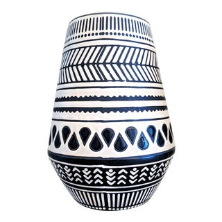 Geometric Black & White Vase For Sale