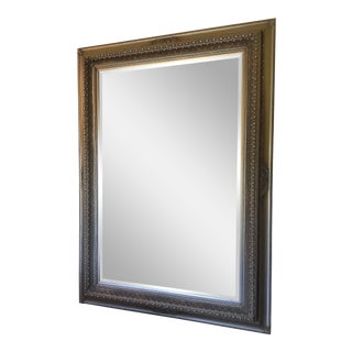 Monumental Silver Gilded Beveled Glass Floor Mirror For Sale
