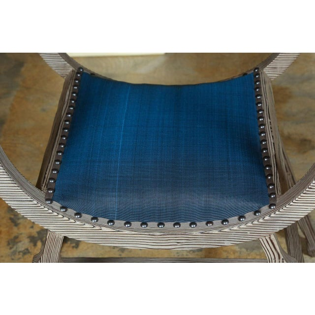 Paul Marra Paul Marra Distressed Fir Bench in Blue Horsehair For Sale - Image 4 of 9