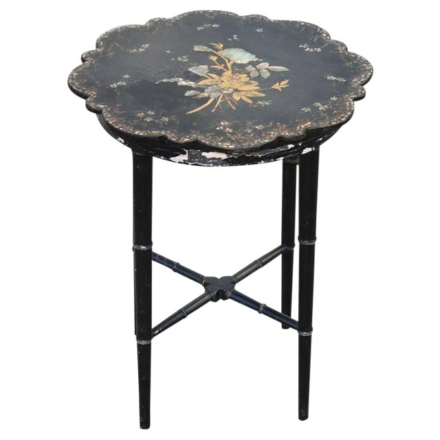 Small Chinoiserie Side Table or Stool Black Faux Bamboo Legs For Sale