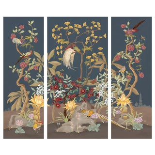 """Pheasants and Forest"" Triptych Chinoiserie Painting by Allison Cosmos For Sale"