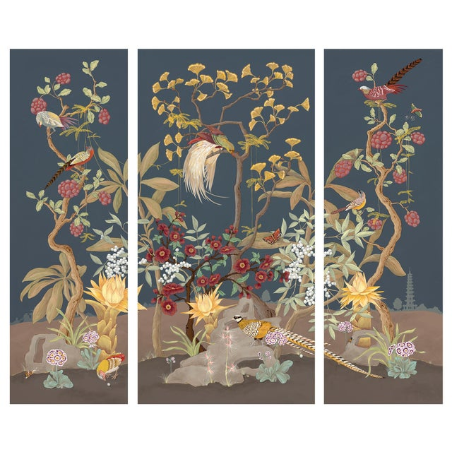 """""""Pheasants and Forest"""" Triptych Chinoiserie Painting by Allison Cosmos For Sale"""