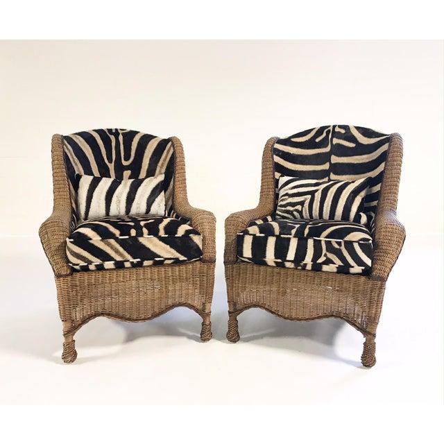 Ralph Lauren Vintage Ralph Lauren Wicker Wingback Chairs Restored in Zebra Hide - Pair For Sale - Image 4 of 12