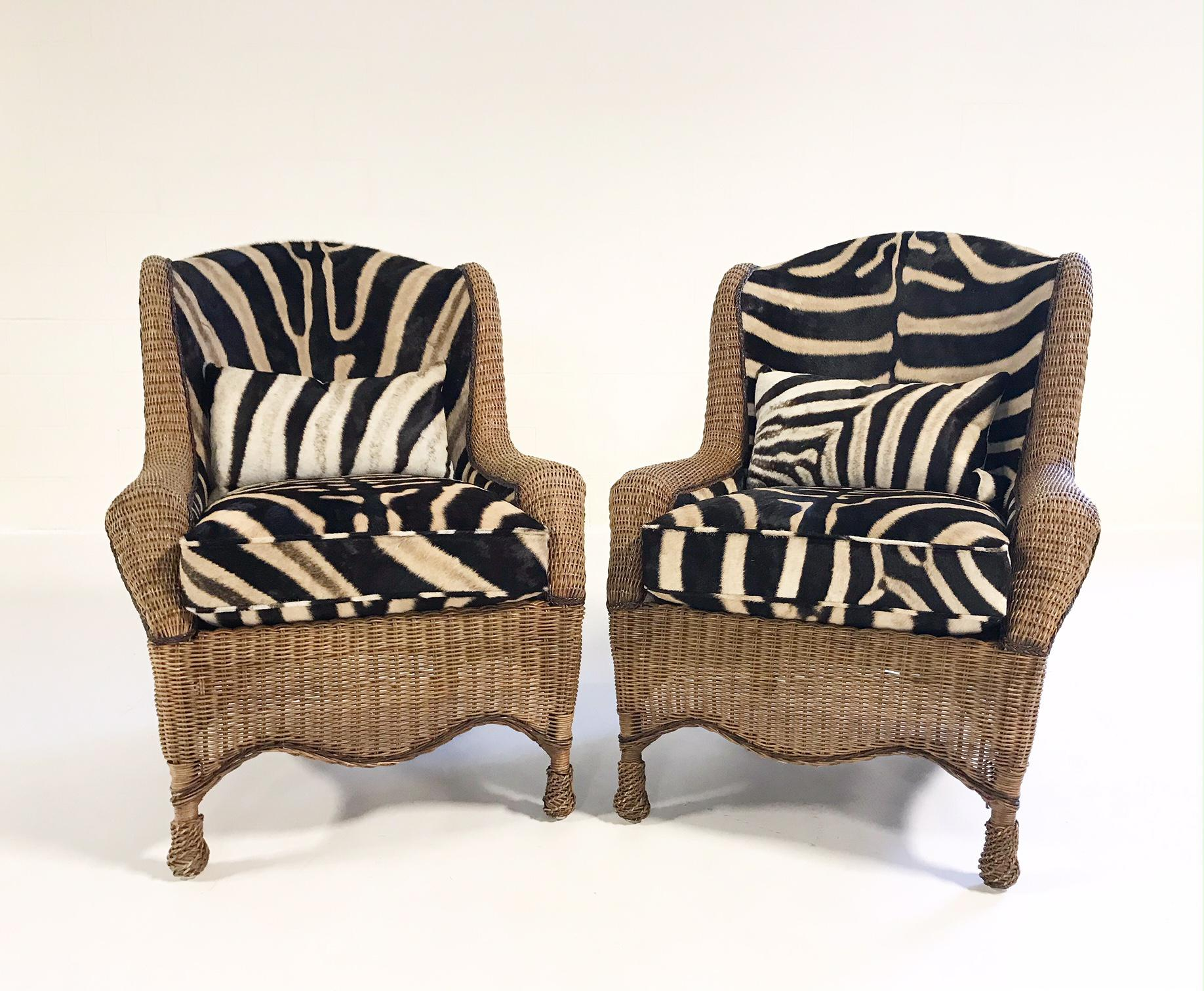 Ralph Lauren Vintage Ralph Lauren Wicker Wingback Chairs Restored In Zebra  Hide   Pair For Sale