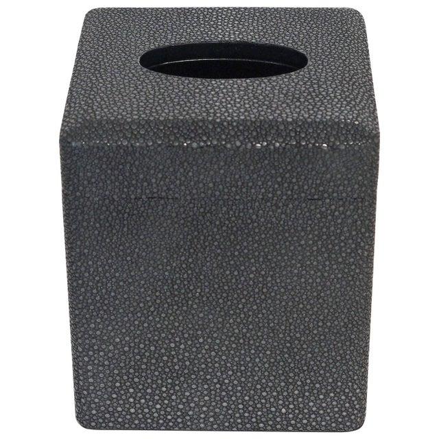 Italian Black Shagreen Tissue Box by Fabio Ltd For Sale In Palm Springs - Image 6 of 6