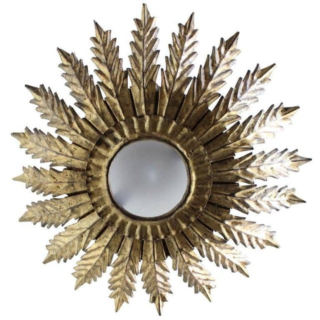 20th Century Spanish Gilt Metal Sunburst Ceiling Fixture - Image 10 of 10
