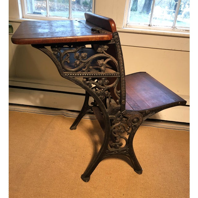 Brown 1880 Victorian Schoolhouse Desk W/Cast Iron Base Inkwell & Bookshelf For Sale - Image 8 of 11