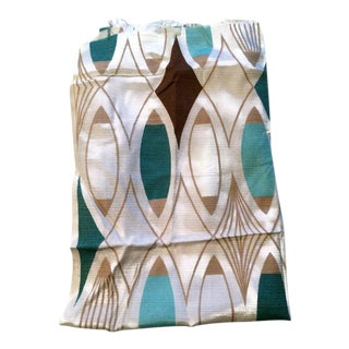 Aqua, Brown & Gold Mid-Century Modern Design Fabric Remnant