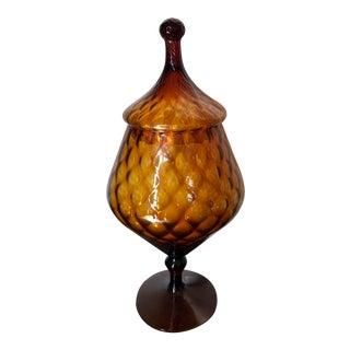 Mid-Century Italian Empoli Glass Apothecary Jar