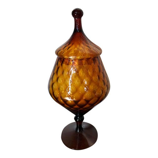 Mid-Century Italian Empoli Glass Apothecary Jar For Sale
