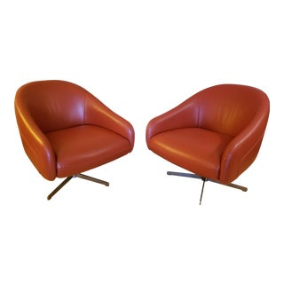 Industrial Burnt Orange Leather Brushed Steel Base Club Chairs - a Pair