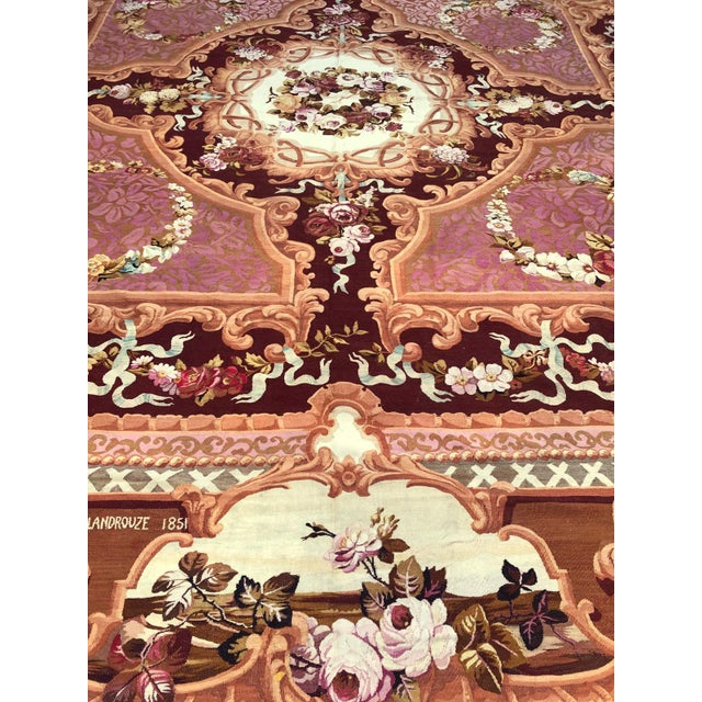 Red 1851 Handwoven Antique Sallandrouze Aubusson Rug, Exceptional Condition & Signed For Sale - Image 8 of 9