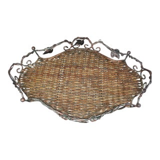 Vintage Wicker & Wrought Iron Basket