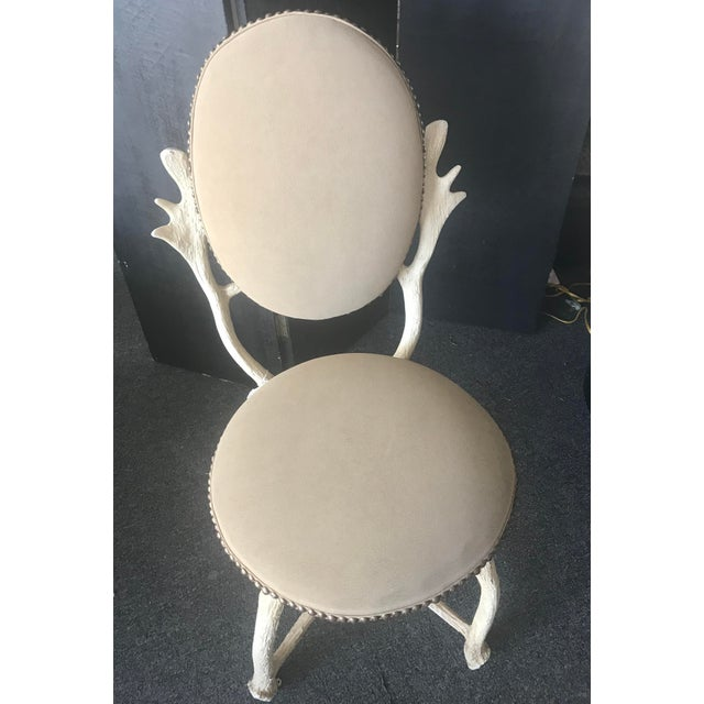 Mid Century 1970-1979 Arthur Court Design Faux Moose Antler Accent Chair Circa 1970-1979 Hollywood Regency Leather like...
