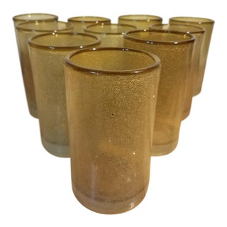 Handblown Mexican Bubble Tumblers/Glasses - Set of 10 For Sale