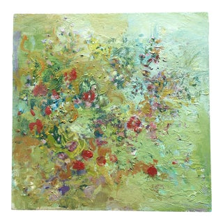 Contemporary Summer Wildflowers Abstract Oil Painting by Jenny Vorwaller