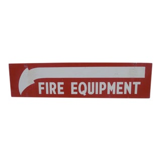 Salvaged Painted Double-Sided Fire Equipment Sign For Sale