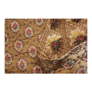 Antique French Piquee Boutis Quilt C1820-1830 Rare Large Printed Cotton 92x101 For Sale