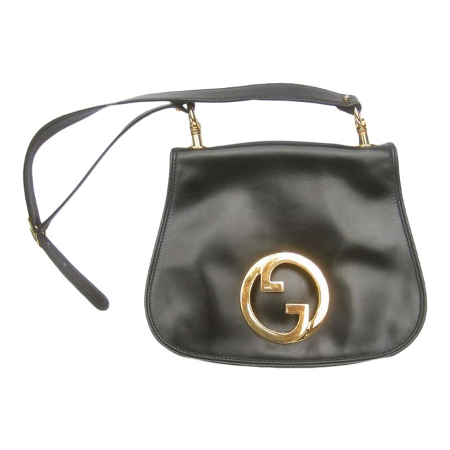 1970s Gucci Italy Ebony Leather Blondie Shoulder Bag For Sale