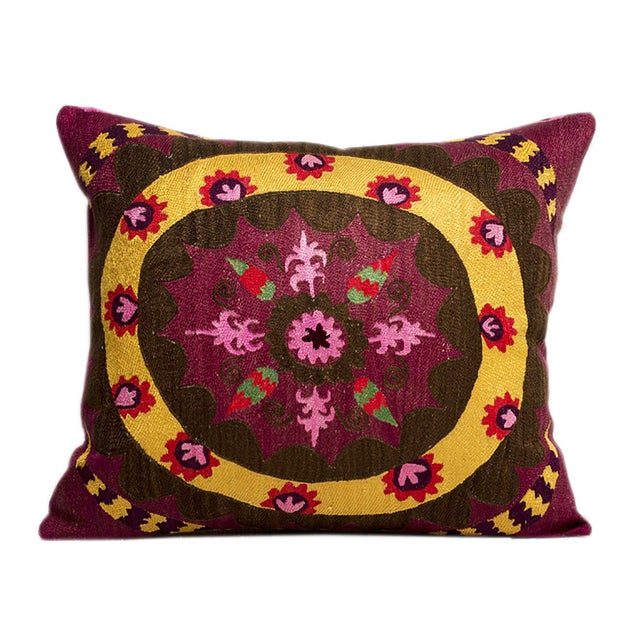 Boho Chic Uzbekistan Silk & Cotton Embroidered Pillow For Sale - Image 3 of 3