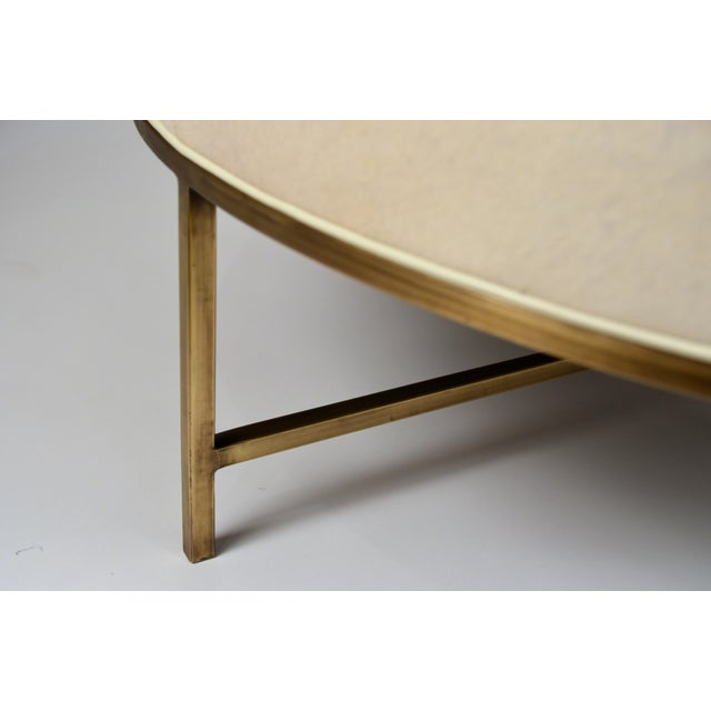 2010s White Hide and Patinated Brass 'Tambour' Ottoman by Design Frères For Sale - Image 5 of 9