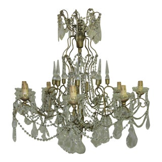 Antique Marie Antoinette Chandelier With Pendalogue Crystals and Roped Crystal Garlands For Sale