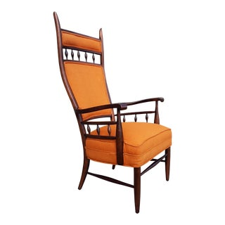 Vintage Mid Century Modern Maxwell Royal for Dunbar High Back Armchair Original Fabric For Sale