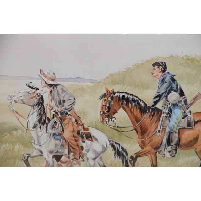 """Illustration J. Thomas Soltesz (American, B.1955) """"The Couriers"""" Original Watercolor For Sale - Image 3 of 9"""
