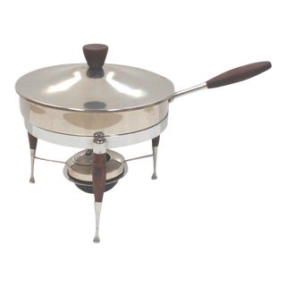 Mid-Century Walnut Chafing Dish For Sale
