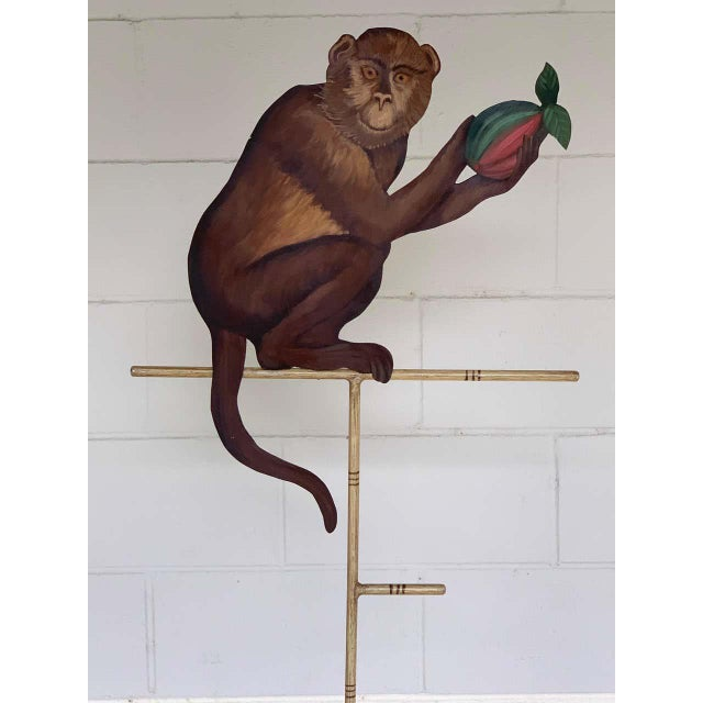 Italian Tole Monkey With Pomegranate Towel Rack For Sale - Image 3 of 11