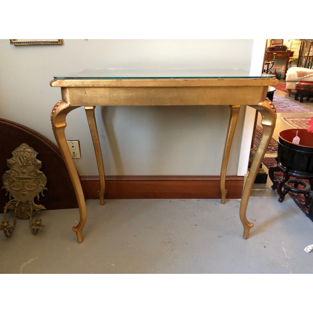 1900s French Gilt Leaf Turn of the Century Console Table For Sale - Image 10 of 12