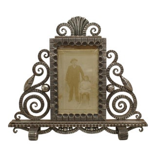 French Art Deco Wrought Iron Easel Picture Frame For Sale