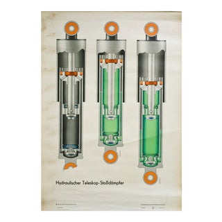 "1970's ""Hydraulischer"" German Illustration Chart For Sale"