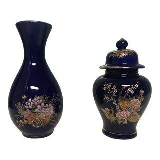 Vintage Japanese Cobalt Blue Ginger Jar & Matching Vase For Sale