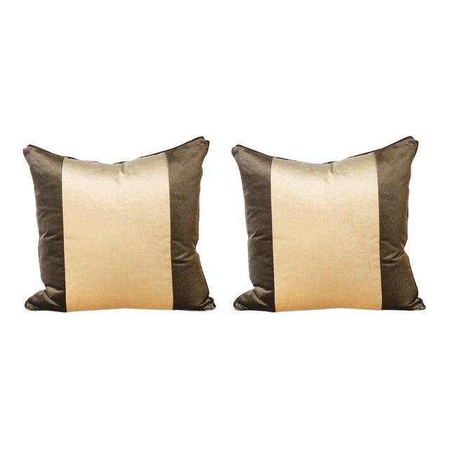 Pair of Two Stripe Pillows Upholstered in Kravet Velvet For Sale