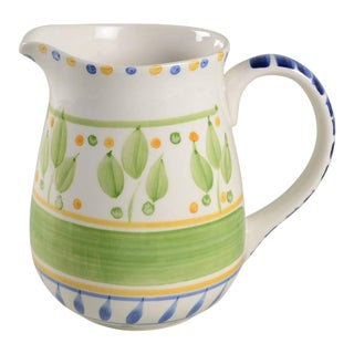 Green White and Blue Painted Pitcher Bernini by Gibson Designs For Sale