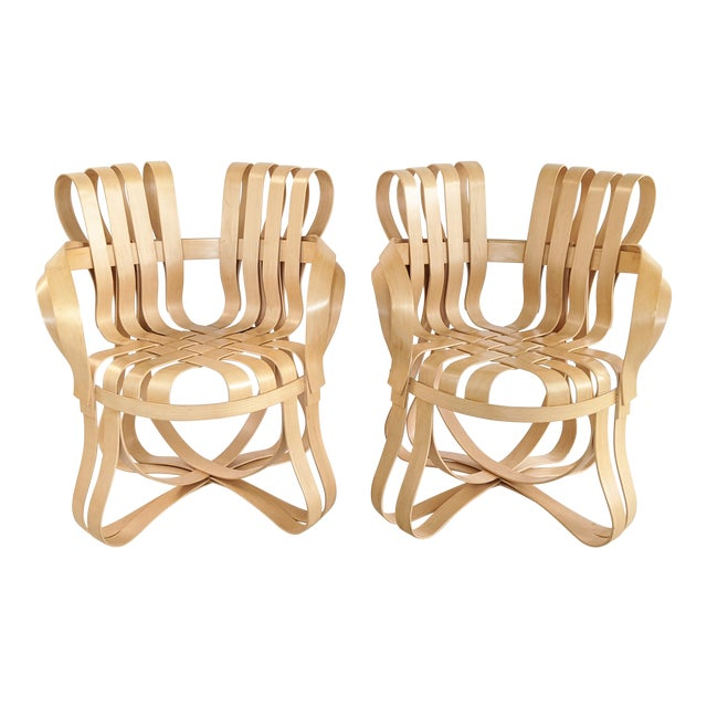 Frank Gehry for Knoll Cross Check Chair Maple Wood With Arms - a Pair For Sale