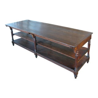Antique 1940s Three Shelf Mercantile Table For Sale