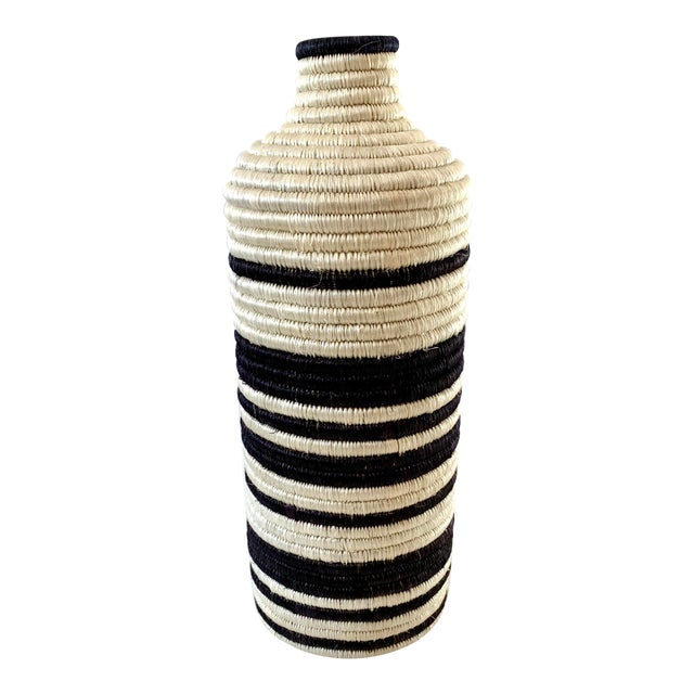 Black and White Striped Woven Vase For Sale