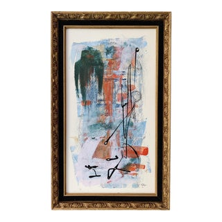 """Sunday"" Contemporary Abstract Acrylic Framed Painting For Sale"