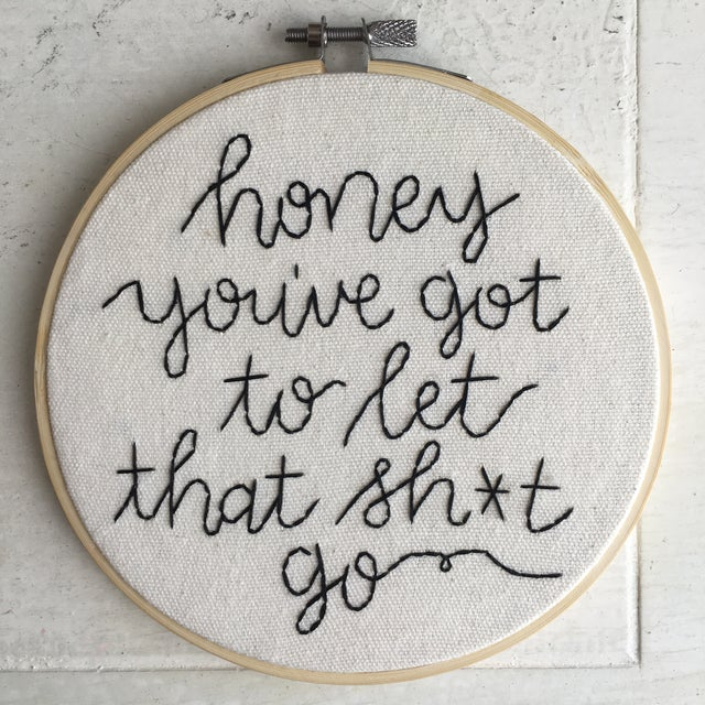 Not Yet Made - Made To Order Made to Order Minimalist Sage Advice Embroidery Textile Art For Sale - Image 5 of 5