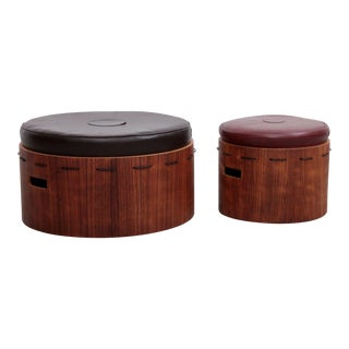 Huge Pair of Danish Rosewood Ottoman or Poufs with Leatherette Pillows For Sale